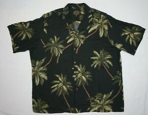 Mens Hawaiian Aloha Shirt Reserve Collection XL Button Up Palm Trees Hawaii camp