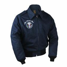 Mens Bomber Jacket US Air Force One A2 Flight jacket Pilot Navy Blue Casual Coat