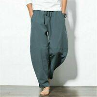 Men Cotton Linen Pants Drawstring Tapered Trousers Elastic Waist Harem Bottoms