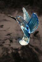 Murano Italian Art Glass Sculpture Bird - AMAZING HUMMINGBIRD - BRIGHT BLUE