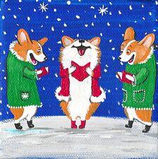 4X4 Print Of Painting Ryta Pembroke Welsh Corgi Xmas Tree Gift Folk Art Toys Hp