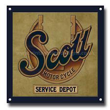 SCOTT MOTORCYCLE SERVICE DEPOT METAL SIGN.VINTAGE BRITISH MOTORCYCLES