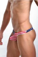 Men's Underwear Cotton Male G-string   American Flag Printed Thong/Briefs S-XL