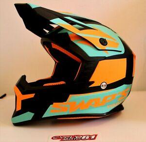 Casque motocross SWAP'S BLUR S818 Noir / Orange / Bleu Mat Taille XL