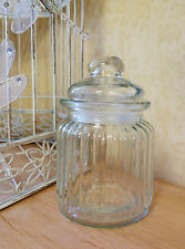Small Ribbed Glass Sweet Jar & Lid Candy Food Storage Pot Vintage Wedding Favour