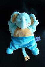 73- DOUDOU POMMETTE ELEPHANT SEMI PLAT FORME COUSSIN BLEU ORANGE - NEUF*!