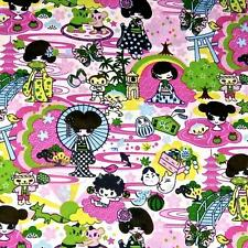 Cotton Fabric Per Yard, Kawaii Print, Children, Geishas, Manga, by Transpacific