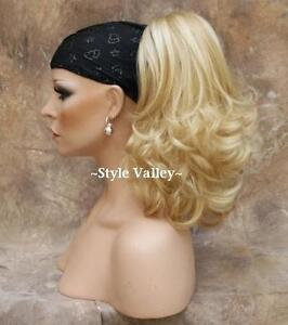 Blonde Ponytail Extension Hairpiece Clip in/on hair piece Straight w/ Curly ends