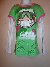 Bobby Jack Girls L/S Graphic Tee Shirt Green XL/6X NWT