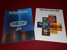 1974 FORD GRAN TORINO SPORT, BROUGHAM, Etc BROCHURE + 74 FULL-LINE CATALOG 2-4-1