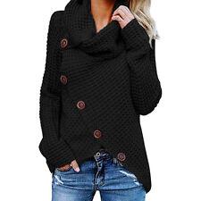 Women's Chunky Turtle Cowl Neck Asymmetric Hem Wrap Sweater Coat Button Details