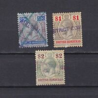 BRITISH HONDURAS 1913, Sc# 81-83, CV $207, Revenue cancel, 'George V', Used