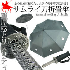 Folding umbrella Samurai Sword Umbrella Ninja Black Japan New