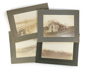 4 Pennsylvania Antique Photographs 1890s-1900s Railroad Bridges, Shepps Dam, PA?