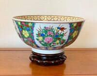 LARGE VINTAGE CHINESE CANTON FAMILLE ROSE PUNCH BOWL WITH STAND 12 INS DIAMETER
