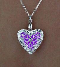 Purple Frozen Glow in the Dark Jewelry Steampunk Pendant Glowing Heart Necklace