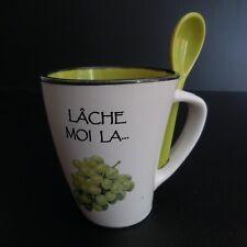 Tasse Lâche-moi la grappe céramique porcelaine vintage art déco France N5919