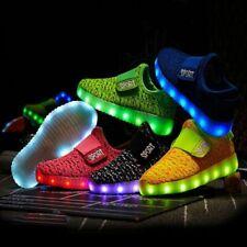 Kids Led USB Recharge Glowing Shoes Children's Hook Loop Glowing Sneakers Kids
