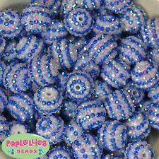 20mm Royal Blue & White Stripe Rhinestone Bubblegum Beads 20 pc chunky gumball
