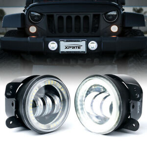 4Inch 60W CREE LED Fog Light w/ White Halo Ring DRL for Jeep Wrangler JK/JL/JT