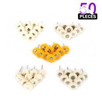 "50Pcs 1"" Cotton Soft Fine Abrasive Buffing Wheel Set Wool Polishing Rotary Tool"