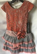 Isobella and Chloe Girls Coral Kiss Drop Waist Tiered Party Dress Size 4-New