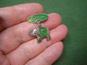 Vintage Carlsberg Grundlagt 1847 Enamelled Elephant Pin Badge Made in Denmark