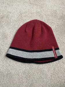 Burgundy  Ralph Lauren Stripe beanie Hat