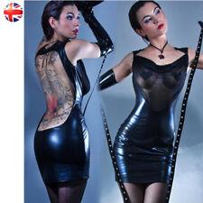 WOMEN BLACK DRESS PVC WET LOOK MINI MIDI VINYL LEATHER BODYCON CLUBWEAR