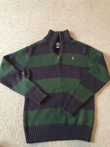 Boys Ralph Lauren Blue/Green Stripped Jumper. Excellent Condition. Size M 12/14