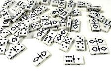 50pcs Domino Noir et Blanc Perles Acrylique Rectangle 20mm x 10mm