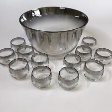 VINTAGE Dorothy Thorpe MCM Silver Fade Punch Bowl + 12 Roly Poly Glasses MadMen
