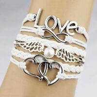 Armband Leder Wickelarmband Armkette Lederarmband Infinity Love Geschenk 1pc