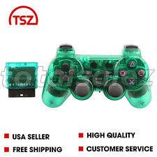 For Sony PS2 Playstation 2 Green Twin Shock Wireless Video Game Controller