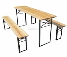 Wooden Folding Beer Table Bench Set Trestle Party Pub Garden Furniture Steel Leg