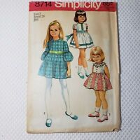 Vintage 70s Simplicity 8714 Girls Pattern Size 7 Day Dress Uncut