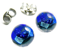 "Tiny DICHROIC Post EARRINGS 1/4"" 10mm Teal Blue Round Layered Fused GLASS STUD"