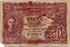 1941 Malaya Straits Settlements Malaysia 50 Cents VG; RARE