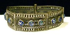 Vintage SILVER FILIGREE PANEL BRACLET w/FOIL GLASS CABS-PULL PIN CLASP -Estate