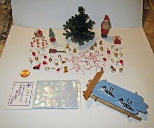 Huge Dollhouse Lot ARTIST MINIATURE CHRISTMAS TREE SANTA ACCESSORY & ORNAMENTS
