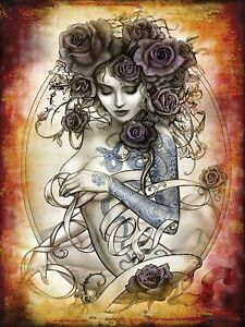 Tattoo Rose. Alchemy Gothic Sexy toppless woman Retro Girl Small Metal Tin Sign