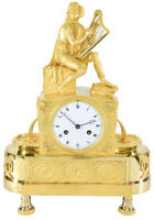 TROUBADOUR FONTAINE. Kaminuhr Empire clock bronze horloge antique pendule uhren
