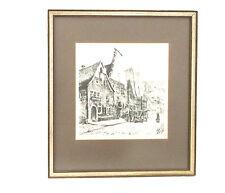"ROTHENBURG TAUBER Black & White ORIGINAL SIGNED REINHOLD BACH-16 X 14"" Frame"