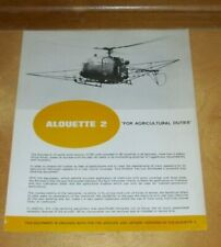SUD-AVIATION ALOUETTE 2 HELICOPTER FOR AGRICULTURAL PURPOSES LEAFLET May 1969
