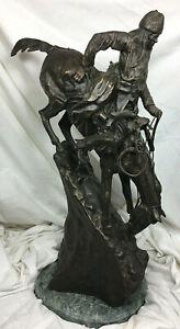 "Frederick Remington ""The Mountain Man"" Bronze Sculpture, 27.5"" on Marble Base."