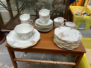 Vintage Art Deco Sutherland China Set Sandwich Tea Plates Cups Saucers Sugar