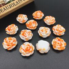 15pcs Orange Resin Rose Flower flatback Appliques For phone/wedding /crafts !!