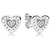 NEW! AUTHENTIC PANDORA SILVER EARRINGS SIGNATURE HEART STUDS #297382CZ HOT 2018