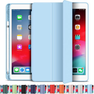 For iPad 7.9 9.7 10.2 10.5 10.9 11 inch Smart Leather Cover Stand Case Pen Slot