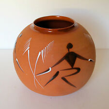 African Terracotta Globe Vase with Dancers & Palm Trees by Simba, Kenya c.1970s